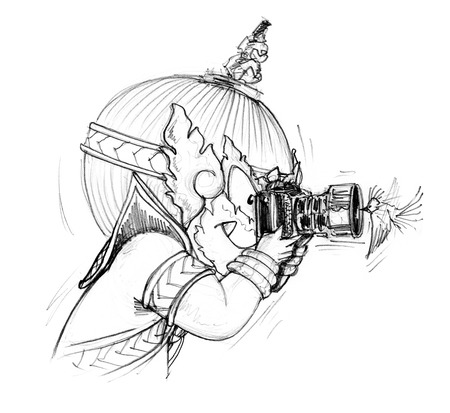 Thai Giant cartoon is photographer he go to travel in forest have find pretty small bird to flying front of a camera very neary and take a lucky photo, Character design pencil sketch black and white on white background.