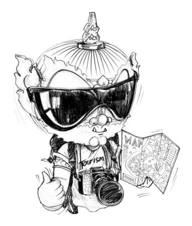 map pencil: Thai Giant is photographer freelance he go to travel around the world he has a professional camera, guide map, sun glasses, Character design pencil sketch on white background. Stock Photo