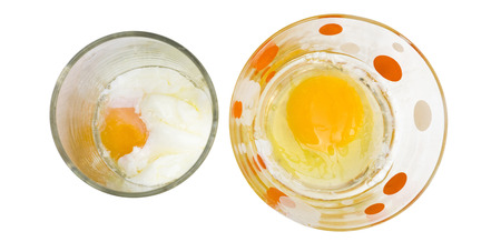 Parboiled egg macro photo on top view, clipping path isolate white background.