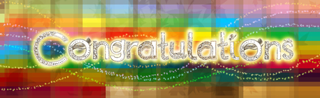 glorification: Congratulations font is hand draw have Vanda orchids flower applied art line and butterflies design, greeting card colorful has star brush line Stock Photo