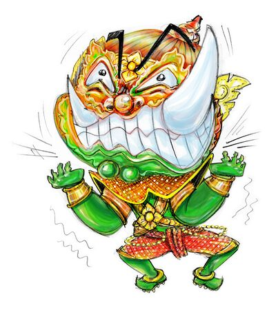 Thai Giant Cartoon acting Pressure frantic bulge, Character design and freehand pencil sketch background isolate white background.