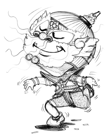 voluptuosa: Voluptuous scent to follow cartoon Thai Giant acting, Character design funny joke and cute art line hand draw black and white color isolate. Foto de archivo