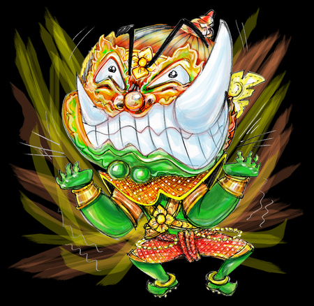 Thai Giant cartoon acting pressure frantic bulge and power boom graphic, Character design and freehand pencil sketch background isolate.