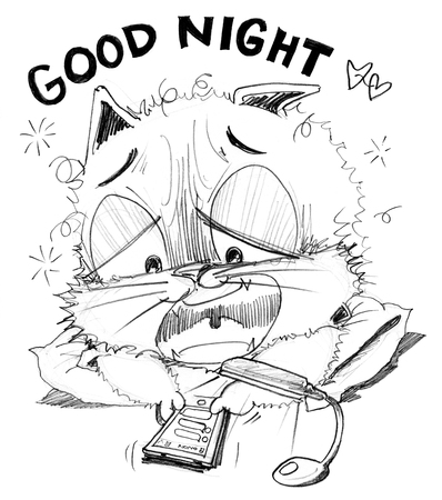 perverse: Cat chat social net work on mobile phone whiit his girl friend I want to sleepy and say Good night, Cartoon cute character design pencil sketch Stock Photo