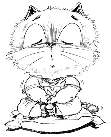 Cartoon cat sitting calmly for Yom Kippur eight practice vegetarianism, Character pencil sketch design black and white.
