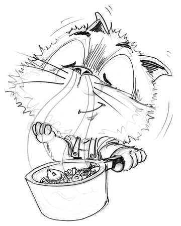Chef cat fish sea food cooking in pot smell is very good, Character pencil sketch design black and white. Stock Photo