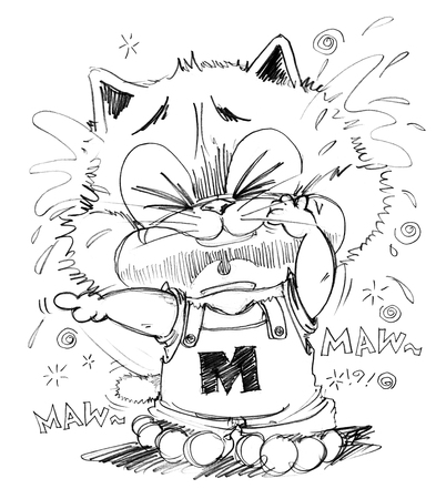 sue: Cat crying look very poor and sue, His finger pointing to some one made he crying, Cartoon cute character design pencil sketch black art line and clipping paths isolate. Stock Photo