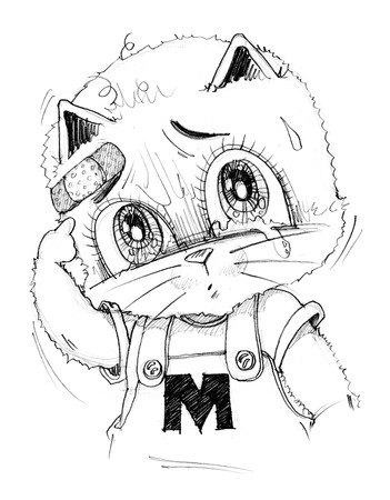 Cute cat crying has sight look very poor and sue, His finger pointing to wound, Cartoon cute character design pencil sketch black art line. Stock Photo