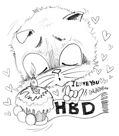 Happy Birthday and cake with small word is I love you he surprise with girl friend very cute acting, Cat cartoon cute character pencil sketch design black and white.