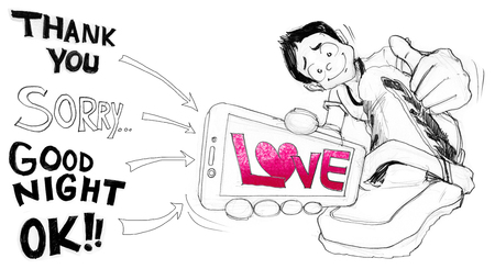 Man cartoon show mobile phone word and all you can change your image or advertisement media to presentation the idea, Character pencil sketch design cute,