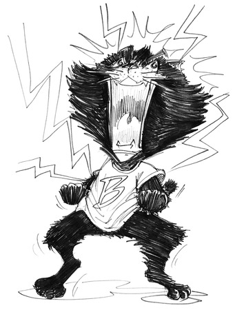 agape: Cat mad cartoon to agape acting has lightning spark around him, Character pencil sketch design black and white.