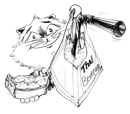 Cat to giving and invites you try to eat Kanhom krog and Thai tea, Character pencil sketch design black and white.