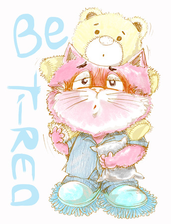 Cute cat be tired want go to sleep, acting cat character pencil color draw design sweet color.