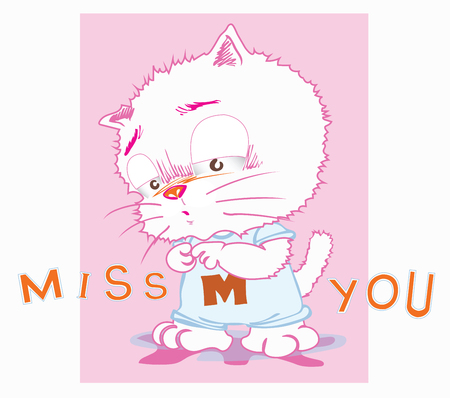 Cute cat cartoon in back ground very sweet pink color have word is miss you for girl card, Character acting design.