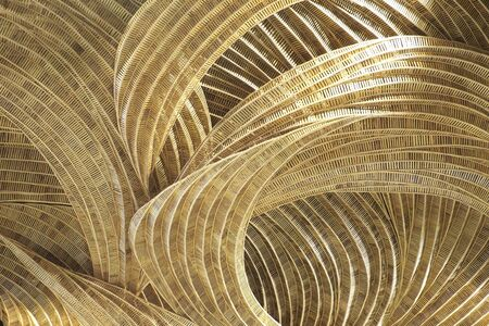 partitions: Rattan handicraft of art decorate pattern design background yellow soft tone. Stock Photo