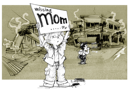 Cartoon character design survivors children showing sign having words Missing mom, Sister and brother shouting to find her morther after the city is destroyedof political conflict, Background is rubble ruins, buildings, power pole, Pencil sketch &drawing.
