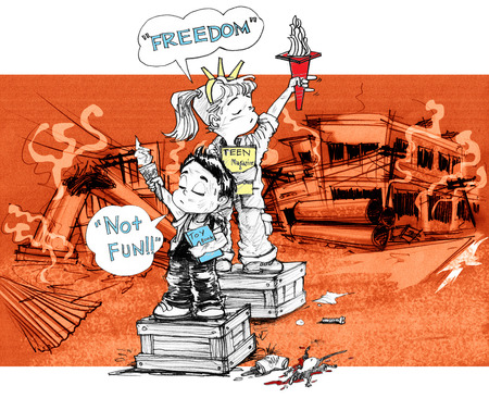 Cartoon character design survivors children sister and brother acting freedom symbol and say not fun, After the city is destroyed by the political conflict, the background is rubble ruins, buildings, power pole, Pencil sketch and drawing black and white. Stock Photo