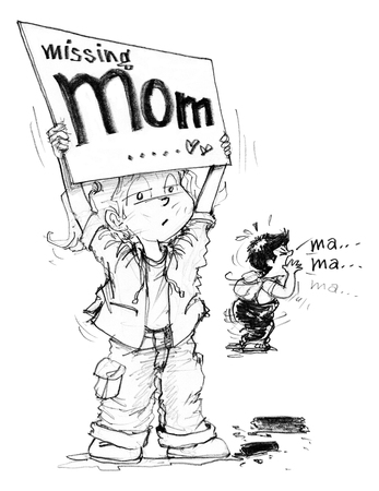 Cartoon character design survivors children showing sign having words Missing mom, Sister and brother shouting to find her morther after the city is destroyedof political conflict, Background is rubble ruins, buildings, power pole, Pencil sketch and drawi