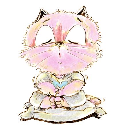 Cartoon cat sitting calmly for Yom Kippur eight practice vegetarianism, Character pencil sketch design.