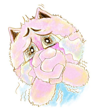 Cat so cute acting pleading and crying, Character pencil sketch design.