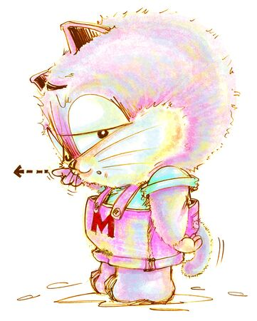 Cat cartoon to complaining and pointing someone and his tail is falling to pointing the same his finger, Character pencil color hand drawing design.