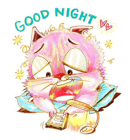 perverse: Cat chat social net work on mobile phone with his girl friend I want to sleepy and say Good night, Cartoon cute character design pencil sketch art line.