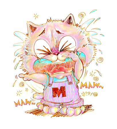 sue: Cat crying look very poor and sue, His finger pointing to some one made he crying, Cartoon cute character design pencil color hand drawing.