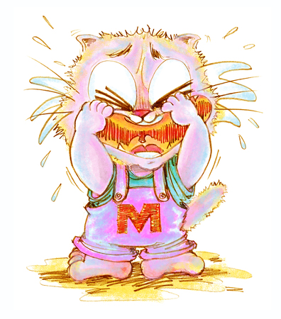 Cat crying look very poor has some one made he crying, Cartoon cute character design hand drawing pencil color.
