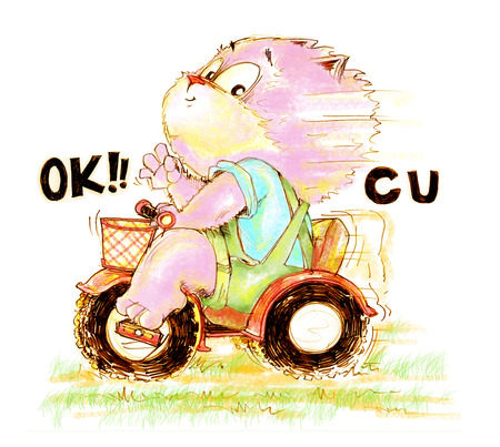 Cat enjoy biker playing ridding of toy 3 wheel bike and show finger symbol is ok see you, Character pencil color hand drawing design.