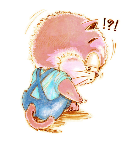 perverse: Cat cute cartoon feeling lonely and depressingly, Character design pencil color hand drawing.