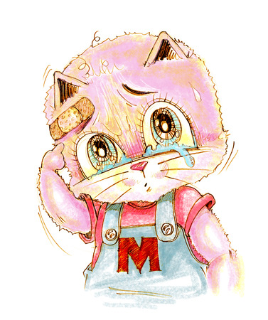 Cute cat crying has sight look very poor and sue, His finger pointing to wound, Cartoon cute character design pencil color hand drawing.