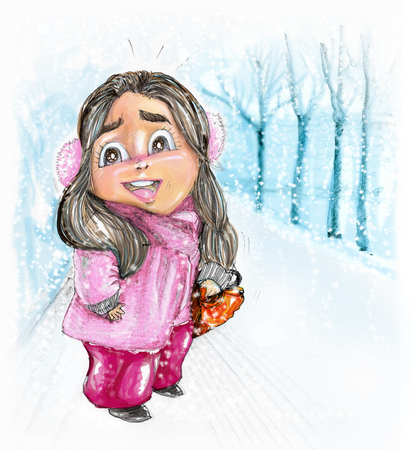 Cartoon pretty girl facing to smiling, She wear bright pink sweater in winter season and snow is falling, Character design pencil hand drawn and color painting. Stock Photo