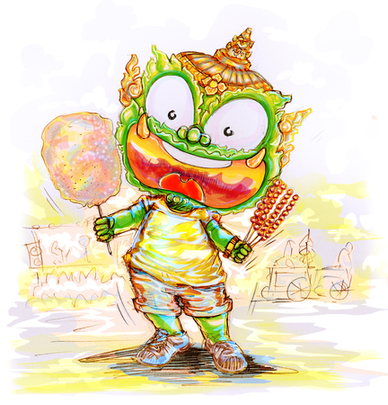 Thai Giant cartoon charcter acting design pencil sketch and paint, To present temple festival in hands to showing dessert are cotton candy and caramelized goosberry.