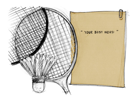 joust: Badminton racket with shuttlecock background paper note brown color hand drawn, Concept idea and design for note, notice board or presentration, Art on isolate. Stock Photo