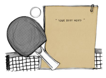 joust: Pingpong background paper note brown color hand drawn, Concept idea and design for note, notice board or presentration, Art on isolate.