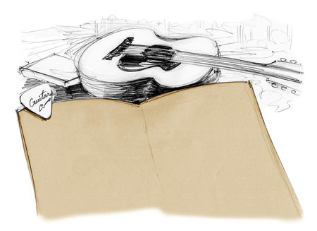 Background book with guitar and pick, Hand drawn rough sketch design art retro style isolate for your background.