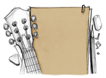 Background book rubber, pencil, note with guitar crop at headstock, tuning pegs, fret, finger and pick, Hand drawn rough sketch design art retro style isolate for your background.
