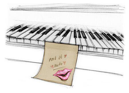 大胆な手のためのピアノのメモ パット メモ棒でキスは、ラフなスケッチ デザイン アート スタイルを特定の背景を描かれています。