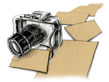 Mirrorless camera pencil sketch and paper free space design background for your word or picture to advertisement present, Isolate on white. Stock Photo
