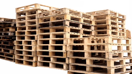 Pallet wood for transportation isolate cut out on white background.