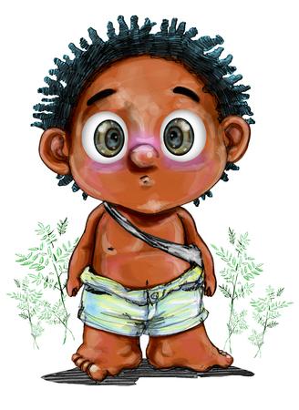 野蛮なイメージの小さな部族の少年キャラクター デザインは正面、背景、ニガキやトンカットアリ ハーブ、鉛筆スケッチ、ペイント ブラシ、クリ