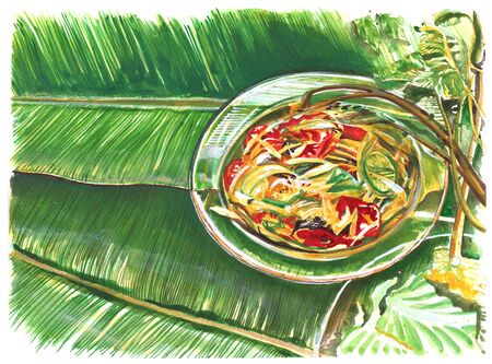 Thai food painting is Papaya Slad in glass dish, favorite herbal for health diet have eat with vegetable lemon, cabbage, morning glory on banana leaf. Stock Photo