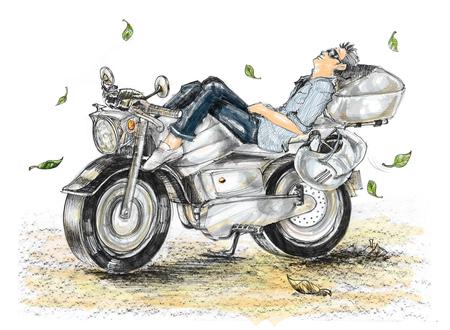 La pittura del fumetto di stile di vita del motociclista è libertà che dorme sulla bici, in primavera hanno foglie cadute. L'aria con la brezza fresca e isolare. Archivio Fotografico - 82973226