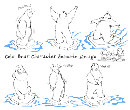 Cola Bear cartoon character design acting animate step has knees, stunned, amazed, shouting, backward, arms outstretched, what, confuse, happy, impressed, shy. All hand drawn with word and pencil texture.