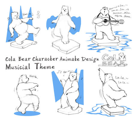 Cola Bear cartoon character design acting musicial theme has knees, stunned, amazed, shouting, backward, arms outstretched, what, confuse, happy, impressed, shy. All hand drawn with word and pencil texture.