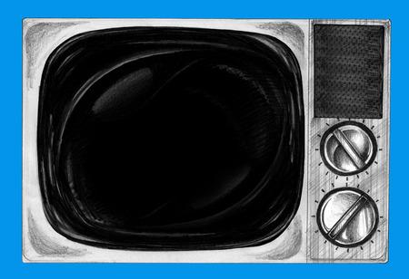 Retro- Fernsehhand gezeichnete Schwarzweiss-Farbe und Papierbeschaffenheit, keine Fotoreferenz. Standard-Bild - 84398104