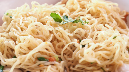 Egg noodle scald menu macro photo extra close up see detail, Is Asian food.