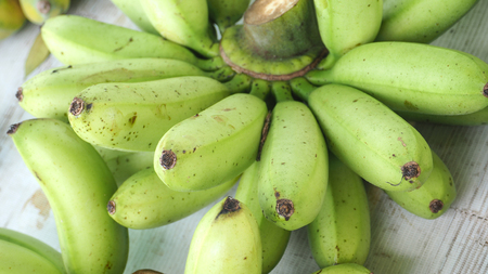 Thai Pisang Awak banana on sale at street shop, Macro and close up photo full frame.