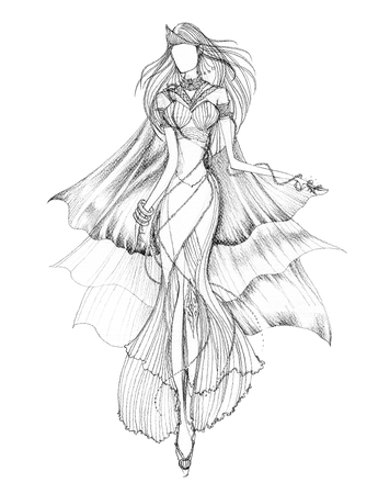 Fashion Design Andaman Perl Princess concept, black and white pencil technique on 300 grams paper texture, hand drawn has Clipping paths.