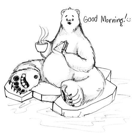 Polar Bear breakfast say good morning sitting on ice, Cute cartoon acting character design hand drawn. Stock Photo